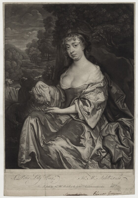 Eleanor ('Nell') Gwyn, by and sold by James Macardell, after  Sir Peter Lely, mid 18th century - NPG D30623 - © National Portrait Gallery, London