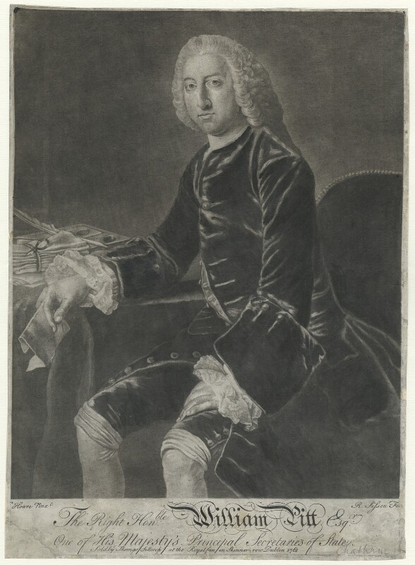 William Pitt, 1st Earl of Chatham, by R. Sisson, after  William Hoare, 1761 - NPG D32920 - © National Portrait Gallery, London
