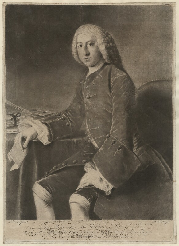 William Pitt, 1st Earl of Chatham, by Richard Houston, after  William Hoare, (1754) - NPG D32922 - © National Portrait Gallery, London