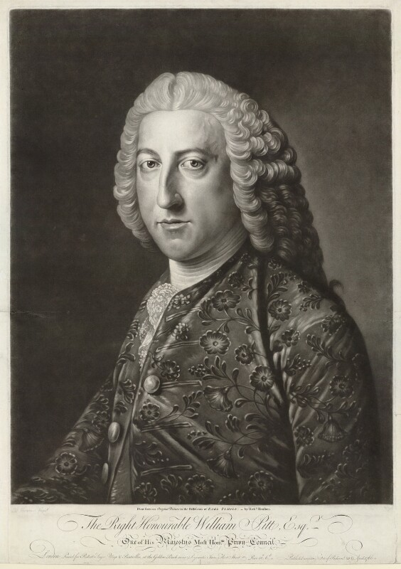William Pitt, 1st Earl of Chatham, by Richard Houston, after  William Hoare, 1766 - NPG D32925 - © National Portrait Gallery, London