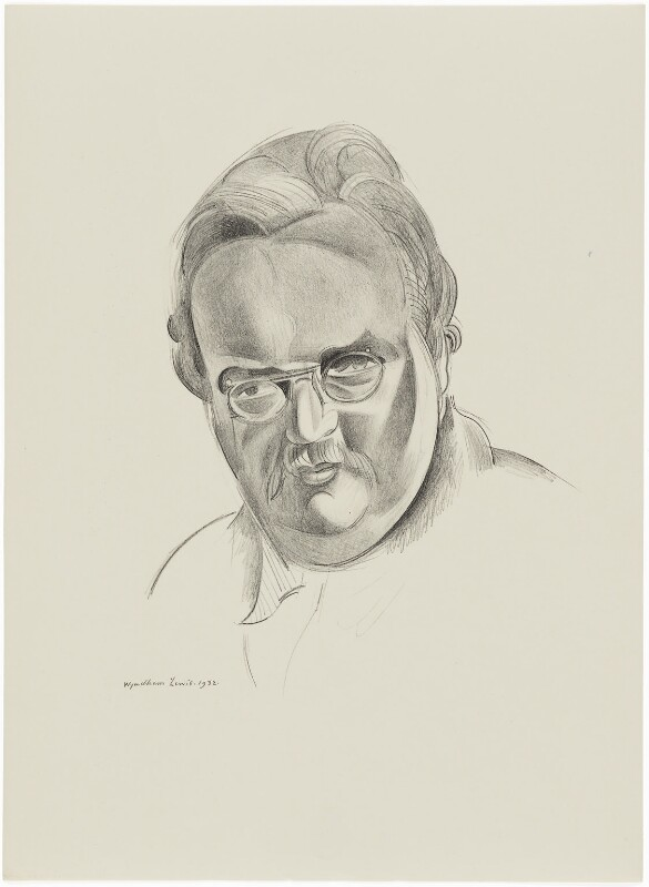 G.K. Chesterton, after Wyndham Lewis, 1932 - NPG D32935 - © Wyndham Lewis and the estate of the late Mrs G A Wyndham Lewis by kind permission of the Wyndham Lewis Memorial Trust (a registered charity)