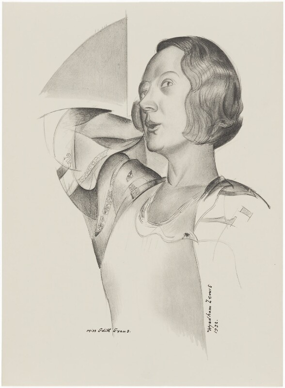 Dame Edith Evans (Dame Edith Mary Booth), after (Percy) Wyndham Lewis, 1932 - NPG D32941 - © Wyndham Lewis and the estate of the late Mrs G A Wyndham Lewis by kind permission of the Wyndham Lewis Memorial Trust (a registered charity)