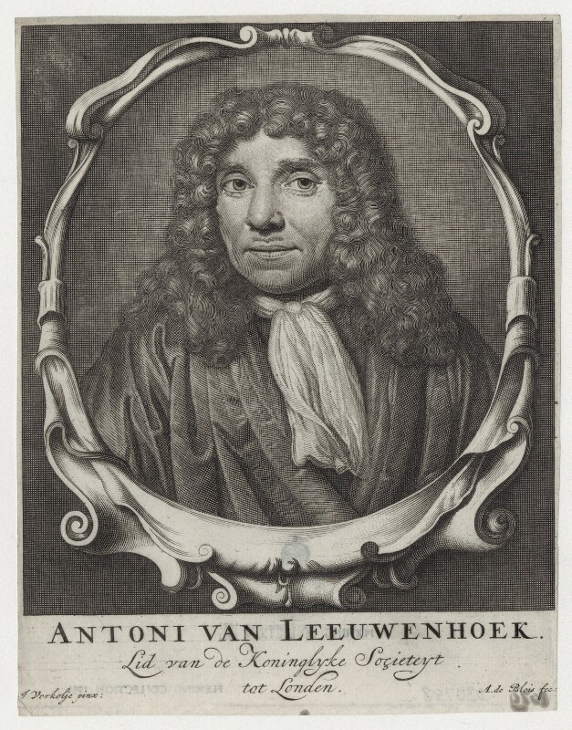 Antonie van Leeuwenhoek, after Jan Verkolje, published by  Abraham de Blois, late 17th to early 18th century - NPG D30758 - © National Portrait Gallery, London
