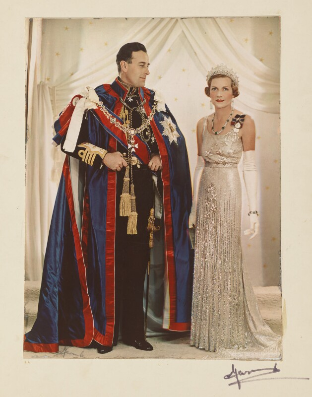 Louis Mountbatten, Earl Mountbatten of Burma; Edwina Cynthia Annette (née Ashley), Countess Mountbatten of Burma, by Madame Yevonde, 1937 - NPG P871(4) - © Yevonde Portrait Archive