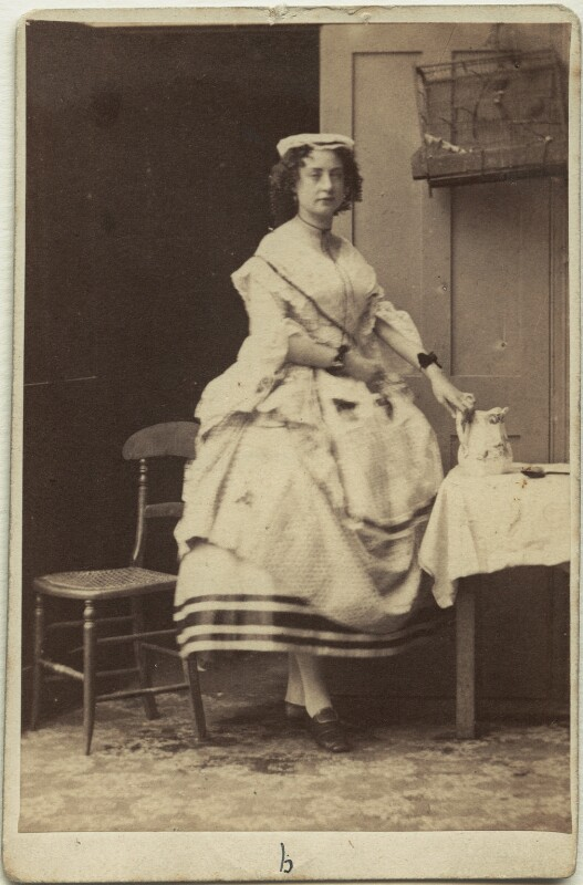 Adeline Cottrell in 'The Maid and the Magpie', by Camille Silvy, circa 1858 - NPG x6898 - © National Portrait Gallery, London