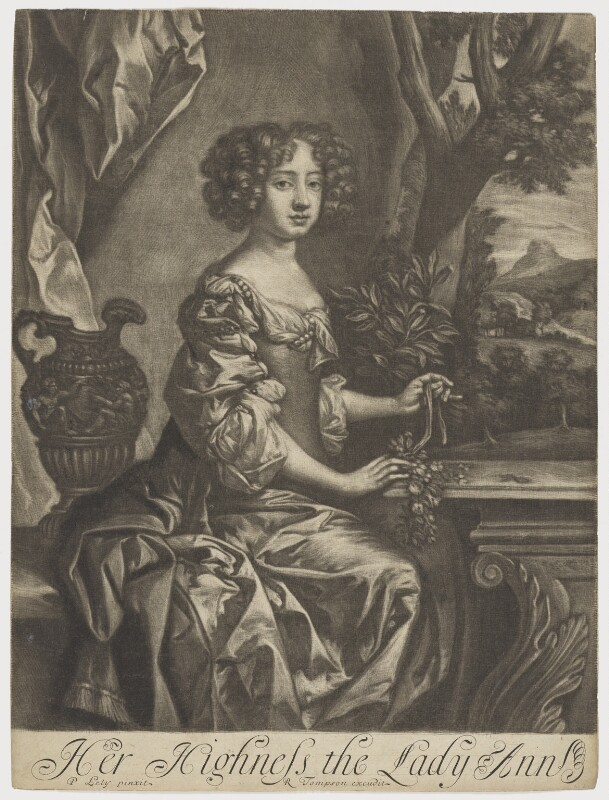 Queen Anne when Princess, published by Richard Tompson, after  Sir Peter Lely, 1678-1679 (circa 1678) - NPG D9231 - © National Portrait Gallery, London