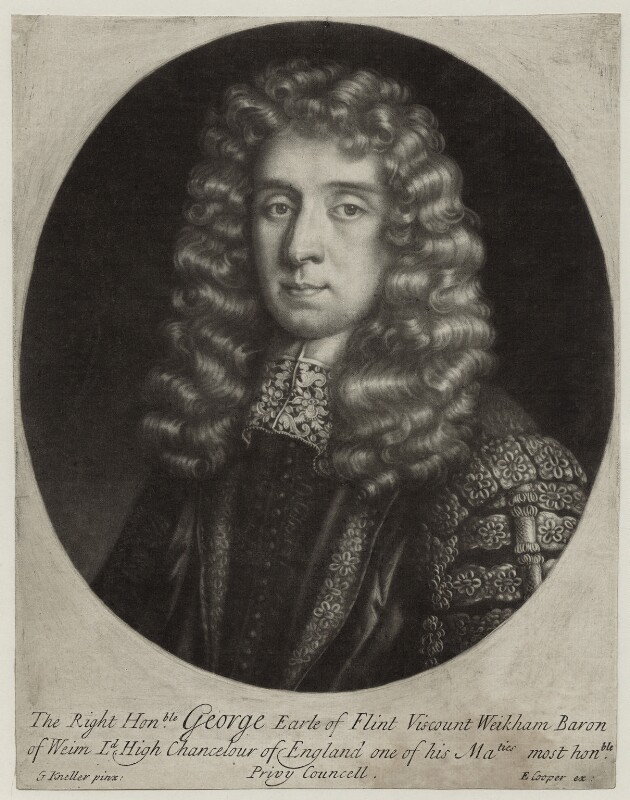 George Jeffreys, 1st Baron Jeffreys of Wem, by Edward Cooper, after  Sir Godfrey Kneller, Bt, 1686 - NPG D30857 - © National Portrait Gallery, London