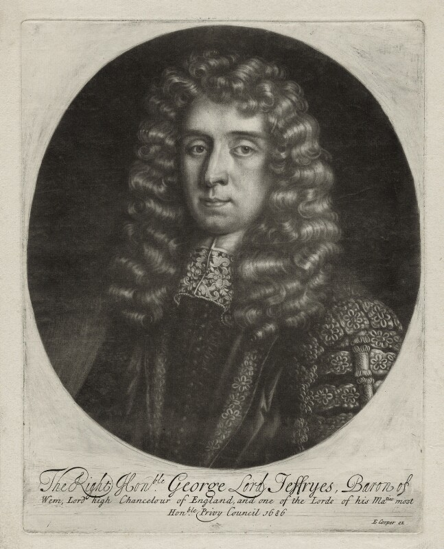 George Jeffreys, 1st Baron Jeffreys of Wem, published by Edward Cooper, after  Sir Godfrey Kneller, Bt, 1686 - NPG D30858 - © National Portrait Gallery, London