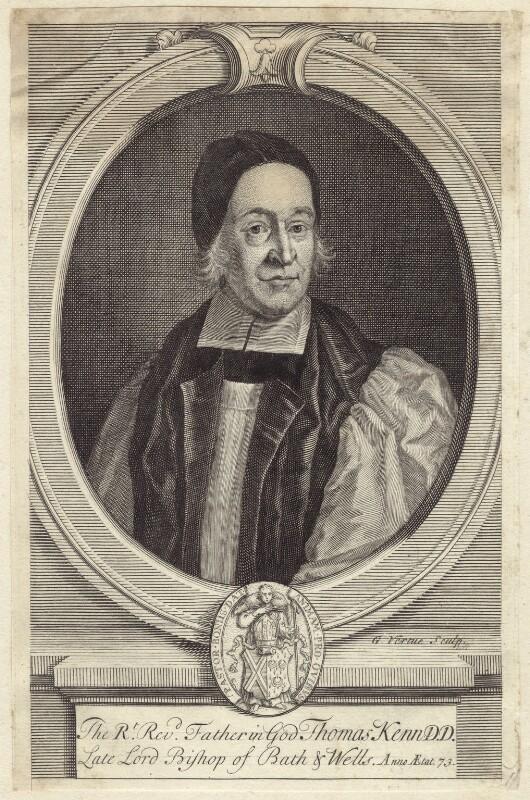 Thomas Ken, by George Vertue, after  F. Scheffer, circa 1713 - NPG D30894 - © National Portrait Gallery, London