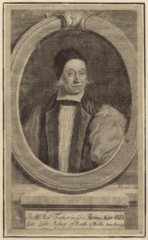 Thomas Ken, by George Vertue, after  F. Scheffer, circa 1713 - NPG D30895 - © National Portrait Gallery, London