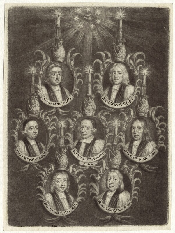 The Seven Bishops Committed to the Tower in 1688, possibly published by John Smith, after  Unknown artist, 1688 - NPG D30898 - © National Portrait Gallery, London