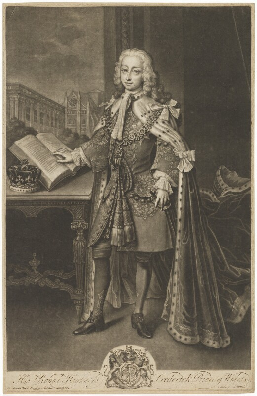 Frederick Lewis, Prince of Wales, by and published by John Simon, after  Philip Mercier, (1728) - NPG D33030 - © National Portrait Gallery, London