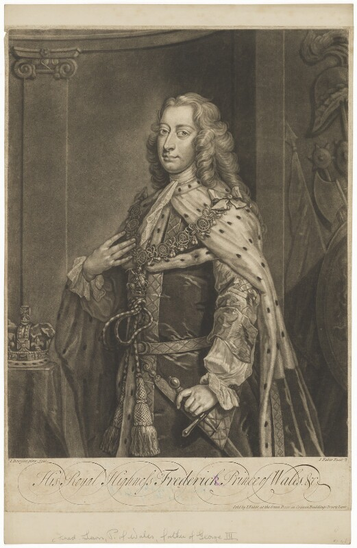 Frederick Lewis, Prince of Wales, by and published by John Faber Jr, after  Jeremiah Davison, 1739 or before (1730) - NPG D33031 - © National Portrait Gallery, London