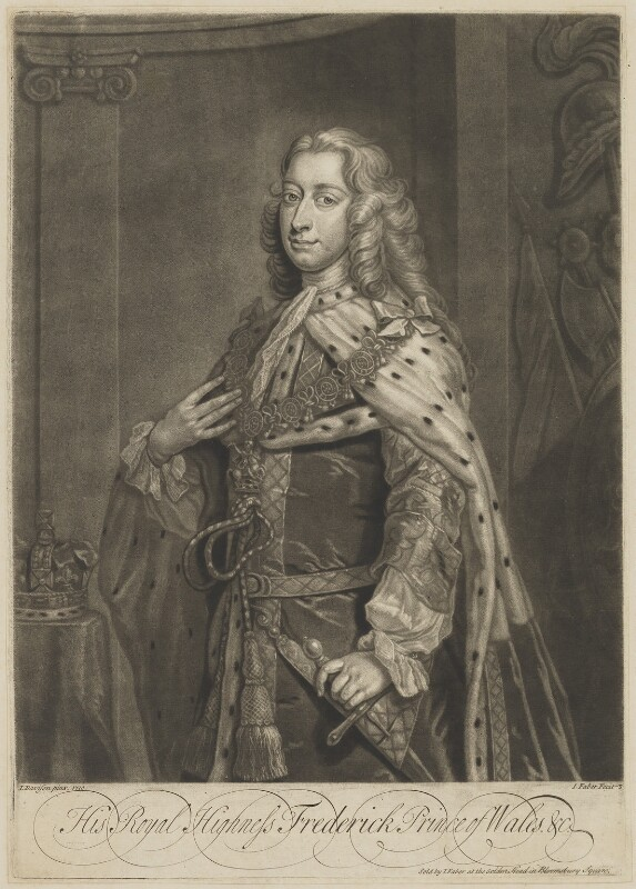 Frederick Lewis, Prince of Wales, by and published by John Faber Jr, after  Jeremiah Davison, 1739 or before (1730) - NPG D33032 - © National Portrait Gallery, London