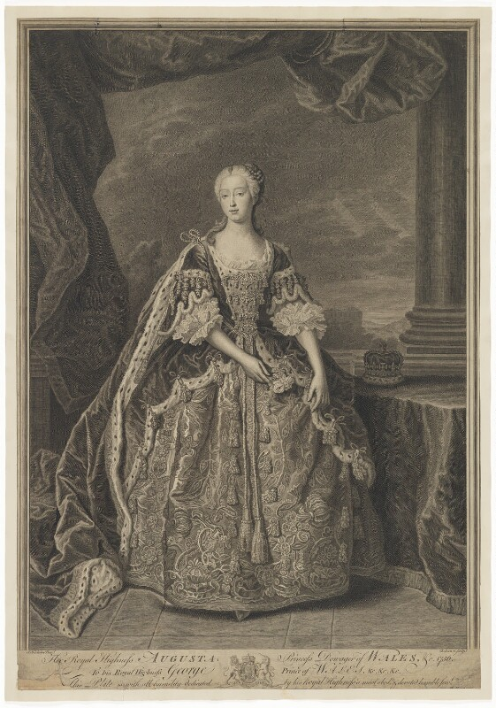 Augusta of Saxe-Gotha, Princess of Wales, by Bernard Baron, after  Jean Baptiste van Loo, 1756 - NPG D33036 - © National Portrait Gallery, London
