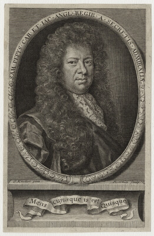 Samuel Pepys, by Robert White, after  Sir Godfrey Kneller, Bt, published 1690 - NPG D30958 - © National Portrait Gallery, London