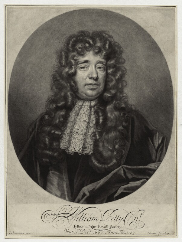 Sir William Petty, by and published by John Smith, after  John Closterman, 1696 - NPG D30966 - © National Portrait Gallery, London