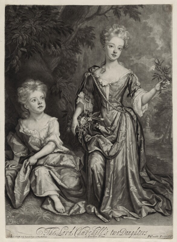 Countess of Sunderland and Duchess of Marlborough, by and published by John Smith, after  Sir Godfrey Kneller, Bt, 1688 (1688) - NPG D31007 - © National Portrait Gallery, London