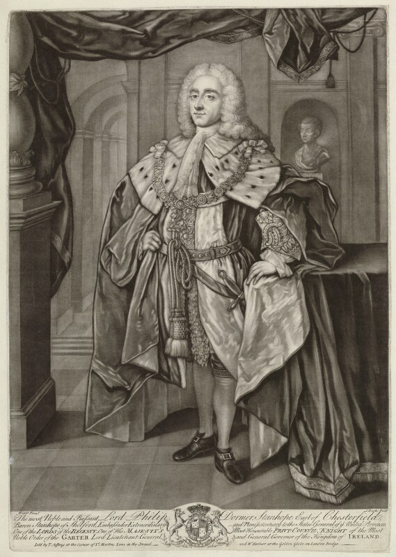 Philip Dormer Stanhope, 4th Earl of Chesterfield, by John Brooks, after  William Hoare, mid 18th century - NPG D33066 - © National Portrait Gallery, London