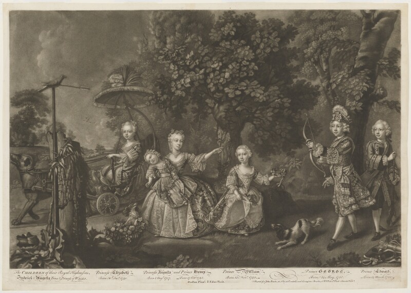 The Children of Frederick and Augusta, Prince and Princess of Wales, by John Faber Jr, published by  John Bowles, and published by  Carington Bowles, after  Barthélémy Dupan (Du Pan), circa 1746-1756 - NPG D33050 - © National Portrait Gallery, London