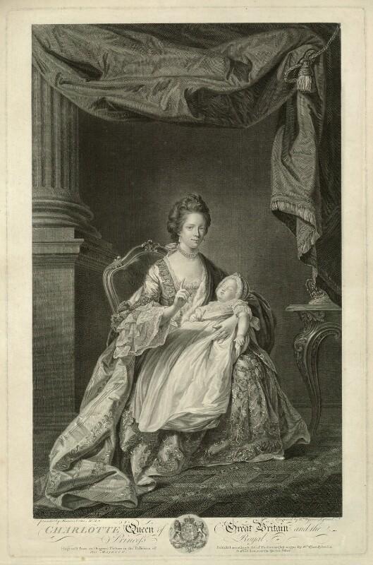 Sophia Charlotte of Mecklenburg-Strelitz; Charlotte Augusta Matilda, Princess Royal, by and published by William Wynne Ryland, after  Francis Cotes, published 1770 - NPG D33076 - © National Portrait Gallery, London