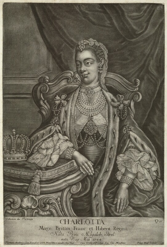 Sophia Charlotte of Mecklenburg-Strelitz, by Johann Philipp Haid, published by  Johann Daniel Herz the Younger, after  Unknown artist, after 1761 - NPG D33077 - © National Portrait Gallery, London