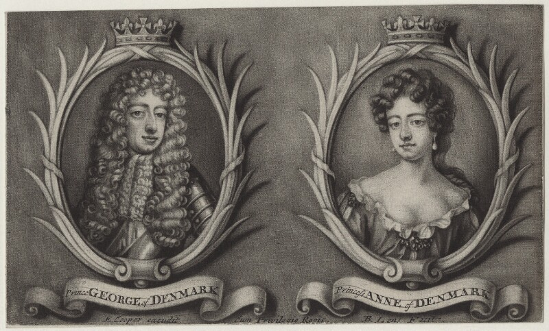 Prince George of Denmark, Duke of Cumberland and Queen Anne, by Bernard Lens (II), after  Unknown artist, published by  Edward Cooper, 1689-1702 - NPG D31080 - © National Portrait Gallery, London