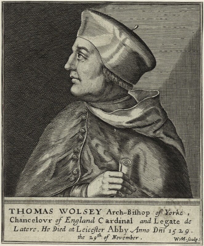 Thomas Wolsey, by William Marshall, after  Unknown artist, published 1648 - NPG D33081 - © National Portrait Gallery, London