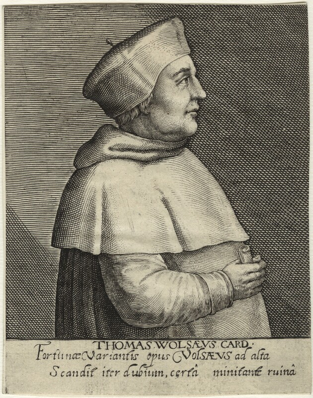 Thomas Wolsey, by Magdalena de Passe, by  Willem de Passe, published 1620 - NPG D33084 - © National Portrait Gallery, London