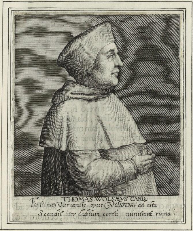 Thomas Wolsey, by Magdalena de Passe, by  Willem de Passe, published 1620 - NPG D33085 - © National Portrait Gallery, London