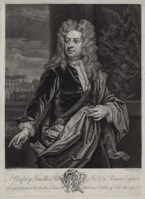 Sir Godfrey Kneller, Bt, by John Faber Jr, after  Sir Godfrey Kneller, Bt, 1735 (circa 1706-1711) - NPG D33091 - © National Portrait Gallery, London