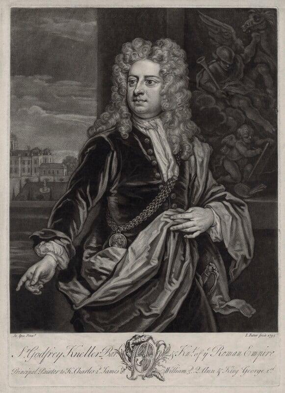 Sir Godfrey Kneller, Bt, by John Faber Jr, after  Sir Godfrey Kneller, Bt, 1735 (circa 1706-1711) - NPG D33091 - © National Portrait Gallery, London
