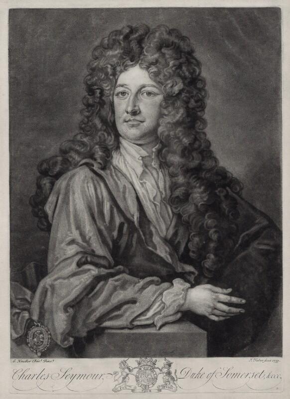 Charles Seymour, 6th Duke of Somerset, by John Faber Jr, after  Sir Godfrey Kneller, Bt, 1733 (circa 1703) - NPG D33092 - © National Portrait Gallery, London