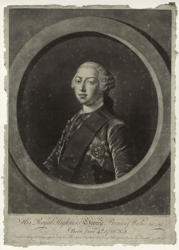 King George III, by Richard Houston, published by  Robert Sayer, published by  Elizabeth Bakewell, published by  Henry Parker, after  Henry Robert Morland, circa 1760 - NPG D33140 - © National Portrait Gallery, London
