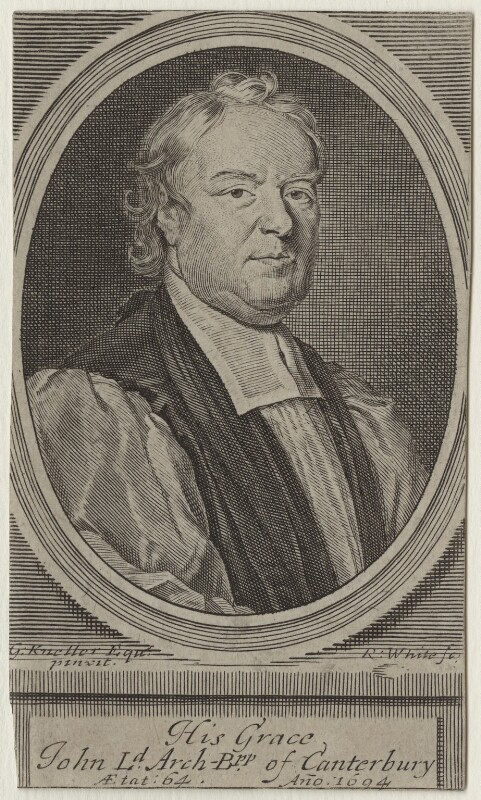 John Tillotson, by Robert White, after  Sir Godfrey Kneller, Bt, late 17th century - NPG D31120 - © National Portrait Gallery, London