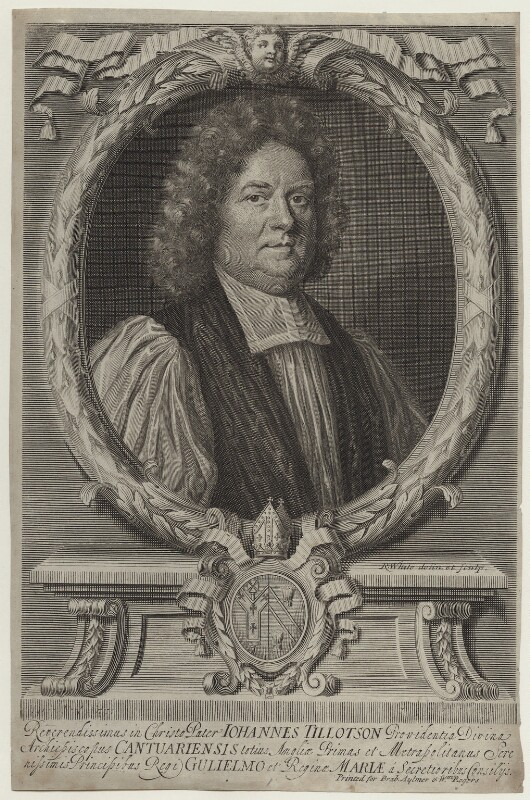 John Tillotson, by Robert White, after  Mary Beale, late 17th century - NPG D31123 - © National Portrait Gallery, London