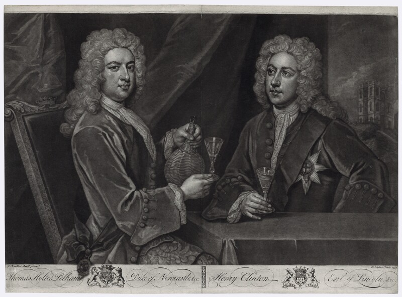 Thomas Pelham-Holles, 1st Duke of Newcastle-under-Lyne; Henry Clinton, 7th Earl of Lincoln, by John Faber Jr, after  Sir Godfrey Kneller, Bt, 1733 - NPG D33099 - © National Portrait Gallery, London