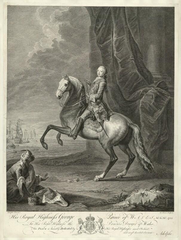 King George III, by Bernard Baron, after  Josef Anton Adolph, 1755 - NPG D33150 - © National Portrait Gallery, London