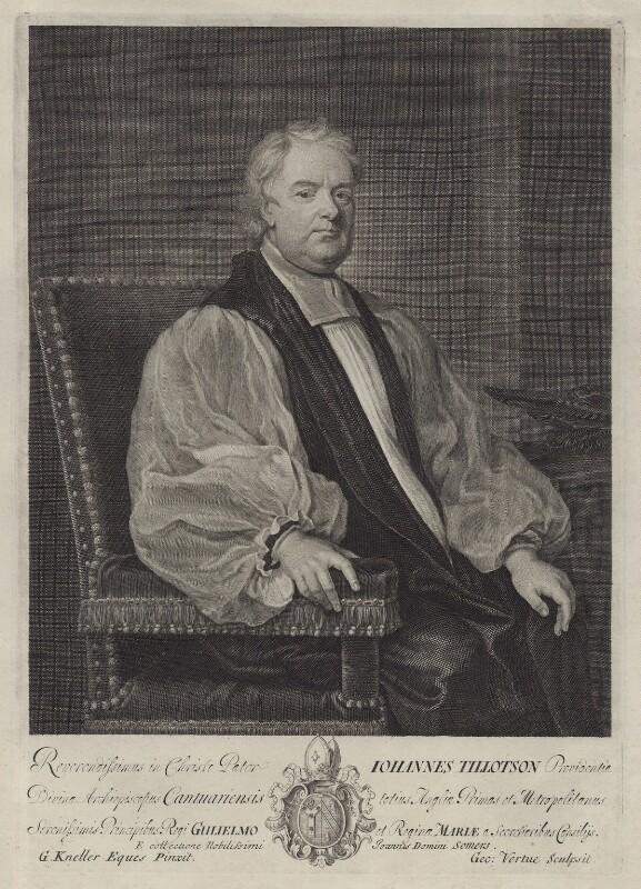 John Tillotson, by George Vertue, after  Sir Godfrey Kneller, Bt, circa 1700-1725 - NPG D31129 - © National Portrait Gallery, London
