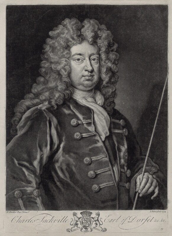 Charles Sackville, 6th Earl of Dorset, by John Faber Jr, after  Sir Godfrey Kneller, Bt, 1734 - NPG D33104 - © National Portrait Gallery, London
