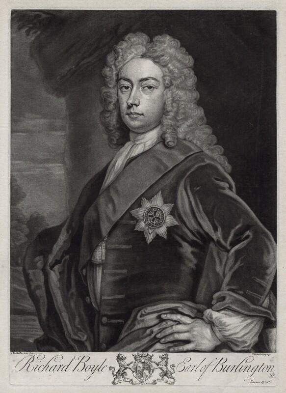 Richard Boyle, 3rd Earl of Burlington and 4th Earl of Cork, by John Faber Jr, after  Sir Godfrey Kneller, Bt, 1734 - NPG D33107 - © National Portrait Gallery, London