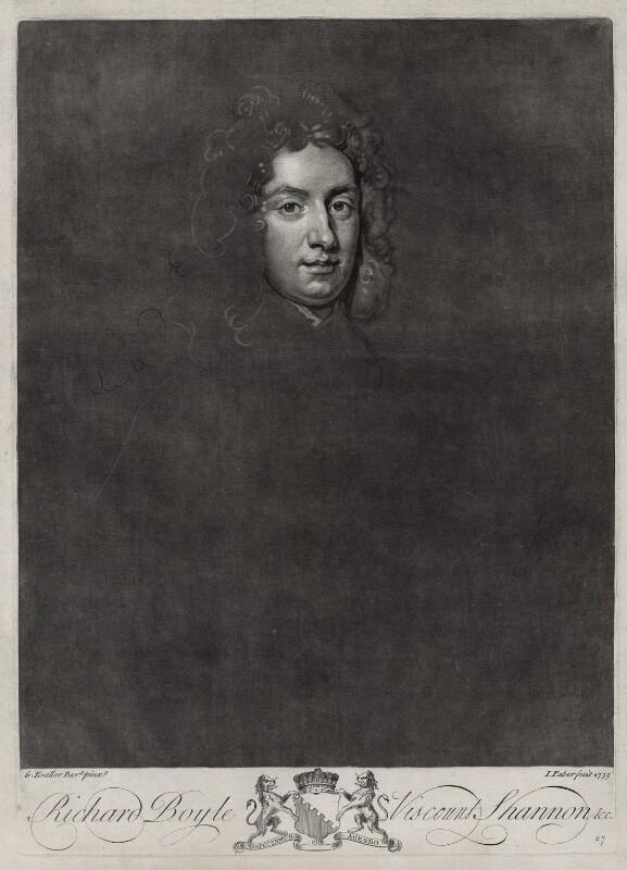 Richard Boyle, 2nd Viscount Shannon, by John Faber Jr, after  Sir Godfrey Kneller, Bt, 1733 - NPG D33119 - © National Portrait Gallery, London