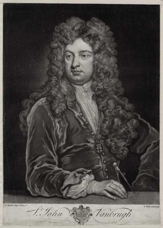 Sir John Vanbrugh, by John Faber Jr, after  Sir Godfrey Kneller, Bt, 1733 - NPG D33121 - © National Portrait Gallery, London