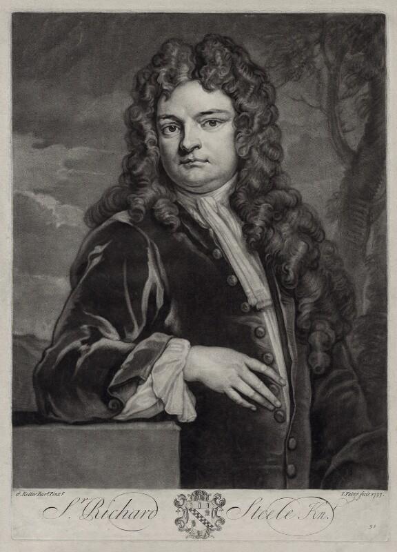 Sir Richard Steele, by John Faber Jr, after  Sir Godfrey Kneller, Bt, 1733 (1711) - NPG D33123 - © National Portrait Gallery, London