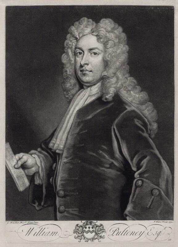 William Pulteney, 1st Earl of Bath, by John Faber Jr, after  Sir Godfrey Kneller, Bt, 1732 - NPG D33125 - © National Portrait Gallery, London