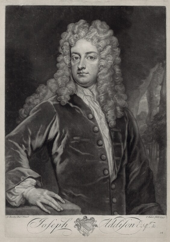 Joseph Addison, by John Faber Jr, after  Sir Godfrey Kneller, Bt, 1733 - NPG D33126 - © National Portrait Gallery, London