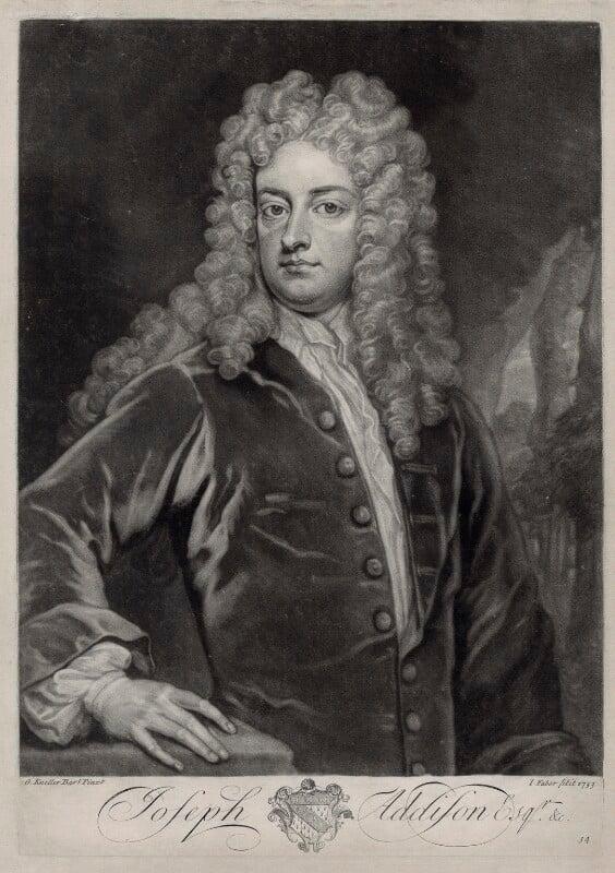 Joseph Addison, by John Faber Jr, after  Sir Godfrey Kneller, Bt, 1733 - NPG D33126 - © National Portrait Gallery, London