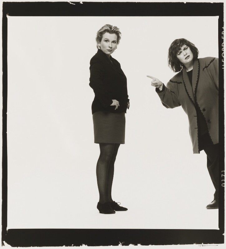 Jennifer Saunders; Dawn French as 'French and Saunders', by Trevor Leighton, 1989 - NPG x35345 - © Trevor Leighton / National Portrait Gallery, London