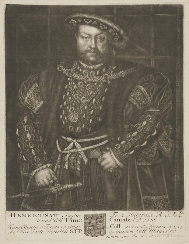 King Henry VIII, by John Faber Sr, after  Hans Holbein the Younger, 1712 - NPG D9258 - © National Portrait Gallery, London