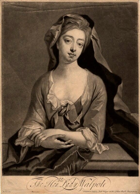 Catherine Walpole (née Shorter), Lady Walpole, by John Simon, published by  Robert Sayer, after  Michael Dahl, published circa 1748-1760 - NPG D9262 - © National Portrait Gallery, London